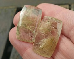 27mm Golden Rutile pair faceted gemstones oblong 36ct 27 by 22 by 5.5mm