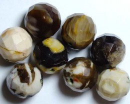 PETRIFIED WOOD BEADS, (8PC) 63.90CTS NP-1129