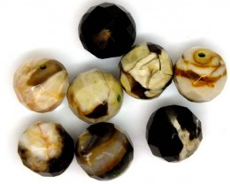 PETRIFIED WOOD BEADS, (8 PC) 62.7 CTS NP-1179