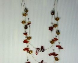 AGATE NECKLACE WITH MATCHING EARRINGS QT103
