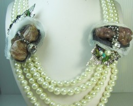 AGATE N HIGH LUSTER WHITE PEARL NECKLACE QT 283