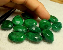 450 Tcw. Faceted Rough Emeralds - 12pcs.