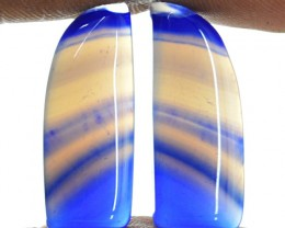 Genuine 19.00 Cts Bue Banded Onyx Cab Pair