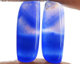 Genuine 17.50 Cts Blue Onyx Cab Pair