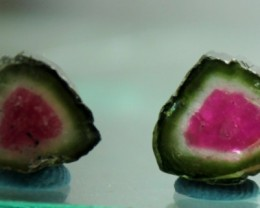NO RESERVE ~ 13.25 cts Watermelon Tourmaline Slices Pair
