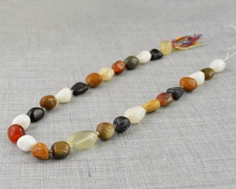 Genuine 204.00 Cts Multi Gemstones Beads Strand