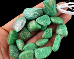 Genuine 445.00 Cts Amazonite Drilled Beads Strand