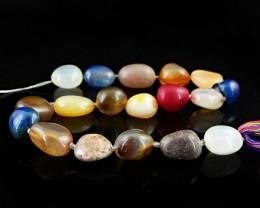 Genuine 452.00 Cts Multi Gemstones Drilled Beads Strand