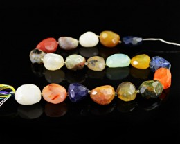 Genuine 392.00 Cts Multi Gemstones Faceted Drilled Beads Strand