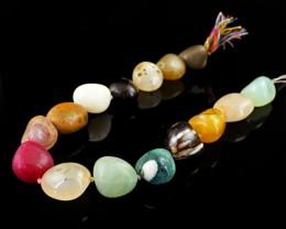 Genuine 722.50 Cts Multi Gemstones Drilled Beads Strand
