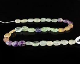 Genuine 147.50 Cts Multicolor Fluorite Oval Shape Drilled Beads Strand