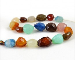 Genuine 694.50 Cts Faceted Multicolor Onyx Drilled Beads Strand