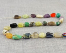 Genuine 164.00 Cts Multi Gemstones Drilled Beads Strand