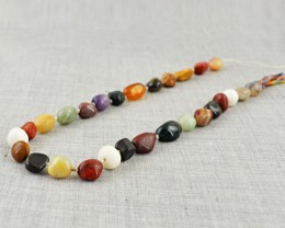 Genuine 215.00 Cts Multi Gemstones Drilled Beads Strand