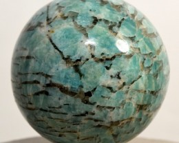 52mm Blue Amazonite w/ Smoky Quartz Crystal Sphere Madagascar AMS-AA85