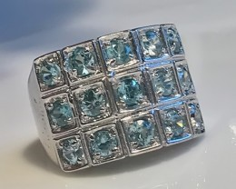 DAZZLING ZIRCON STERLING SILVER RING SIZE 8.0