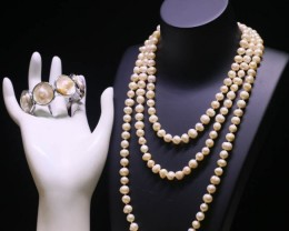 8mm  Palette of Colours natural   Pearl necklace  PPP 1182