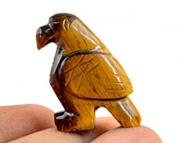 Genuine 41.95 Cts Golden Tiger Eye Carved Bird
