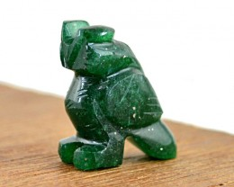 Genuine 42.35 Cts Green Jade Carved Owl