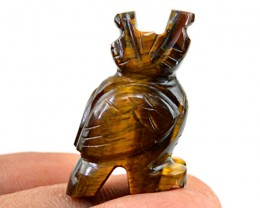 Genuine 50.40 Cts Golden Tiger Eye Carved Owl