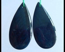 Natural Blue Tiger Eye Water Drop Earring Pairs,35x16x4mm,33.5ct(17040809)