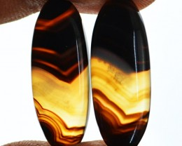 Genuine 20.80 Cts Oval Shape Black Banded Onyx Pair