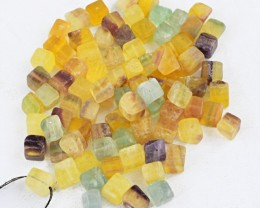 Genuine 283.50 Cts Multicolor Fluorite Drilled Beads Lot
