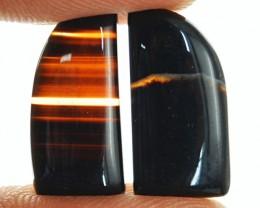 Genuine 13.45 Cts Black Banded Onyx Pair