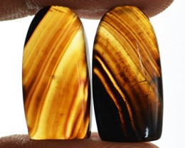 Genuine 20.50 Cts Black Banded Onyx Pair
