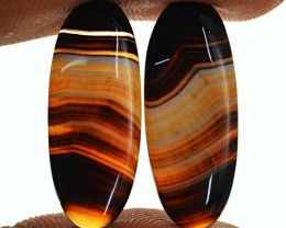 Genuine 22.10 Cts Oval Shape Black Banded Onyx Cab Pair