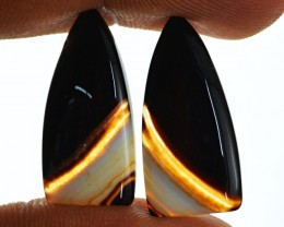 Genuine 23.75 Cts Banded Onyx Cab Pair