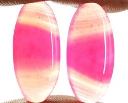Genuine 19.90 Cts Oval Shape Pink Banded Onyx Cab Pair