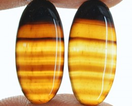 Genuine 19.80 Cts Oval Shape Black Banded Onyx Cab Pair