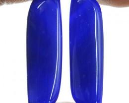 Genuine 24.50 Cts Blue Onyx Cab Pair