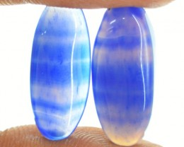 Genuine 15.00 Cts Oval Shape Blue Banded Onyx Cab Pair