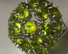 87.00CT HUGE WONDERFUL PERIDOT RING - STERLING SILVER SIZE 9
