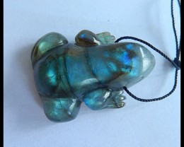 Natural Blue Labradorite Carving Frog Necklace Pendant,36x29x13mm,91ct(1704