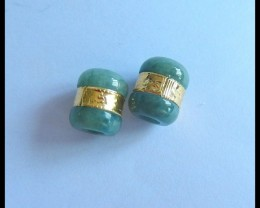 New Arrival! Natural Jade with Sterling Gold Earrings Beads,12x10mm,20.5ct(