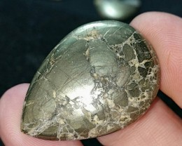50ct 34mm Pyrite in Quartz or Iced pyrite gold bronze cabochon 34 by 25 by