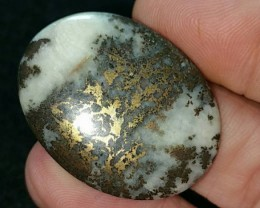 RESERVED 47ct 34mm Pyrite in Quartz or Iced pyrite gold bronze cabochon 34