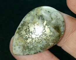 26ct 30mm Pyrite in Quartz or Iced pyrite gold bronze cabochon 30 by 22 by