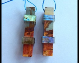 Natural Labradorite and Muti Color Picasso Jasper Intarsia Earring Beads,33
