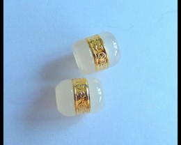 Natural White Agate With Sterling Gold Earring Beads,13x10mm,16.5ct(1704101