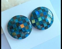 Natural Blue Apatite,Labradorite and Obsidian Intarsia Round Cabochon Pairs