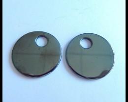 Natural Hematite Round Earring Beads,22x2mm,27ct(17041019)