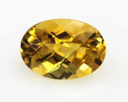 5.68cts Golden Yellow Citrine Oval Checker Board Shape