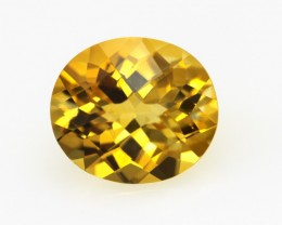 4.24cts Golden Yellow Citrine Oval Checker Board Shape