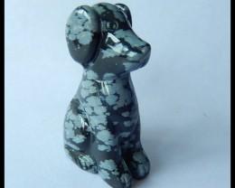 Natural Snow Flake Jasper Carving Dog,45x30x17mm,119ct(17041101)