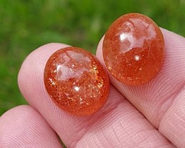 14 by 12mm pair SUNSTONE cabochon red orange 14 by 12 by 6mm rainbow speckl