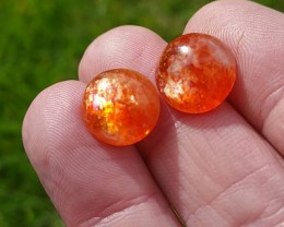 11mm pair SUNSTONE round cabochon red orange 11 by 5.5mm rainbow sparkle